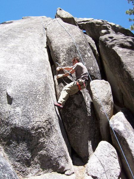 Rock Climbing Photo: Dustin liebacking the start.