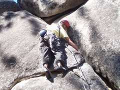 Rock Climbing Photo: Thin flared gear for the start.