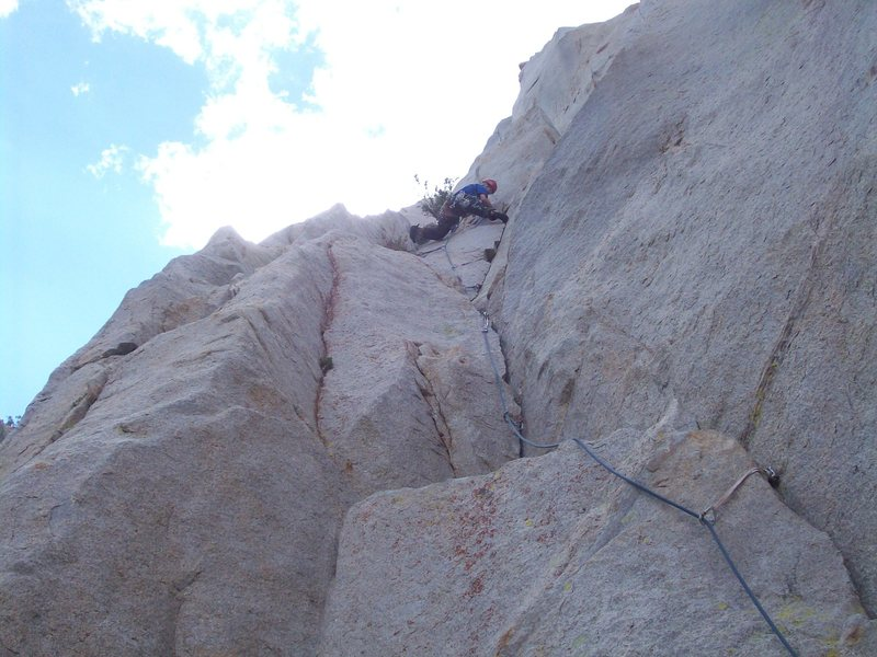 The big step across on pitch 1. A good view of the starting block/face.