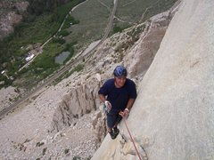 Rock Climbing Photo: Barry at the end of pitch 2, just after the 10a co...
