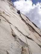 Rock Climbing Photo: Josh at what felt like the crux of pitch 3.