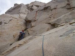 Rock Climbing Photo: Josh at the 3rd belay with the fourth pitch direct...