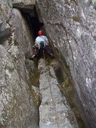 Rock Climbing Photo: Josh looking up into the cave. I think I read abou...
