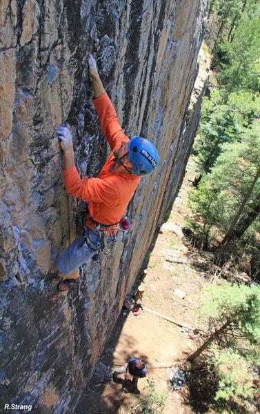 Rock Climbing Photo: Past the crux. The Yardstik (5.11+).