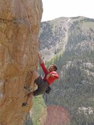 Quick shake after the crux for the last couple 5.11 moves to the anchor. Great route!