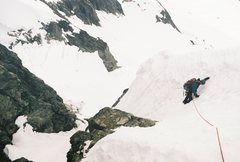 Rock Climbing Photo: Downclimbing the west-ridge route couloir of Forbi...