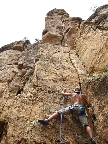 Rock Climbing Photo: First bolt stance on Pretty Boy Floyd.