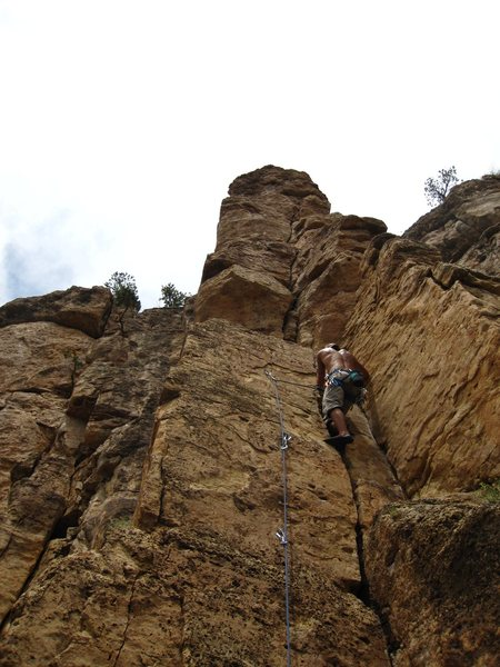 Rock Climbing Photo: Jamming past bolt 3 on Pretty Boy Floyd.