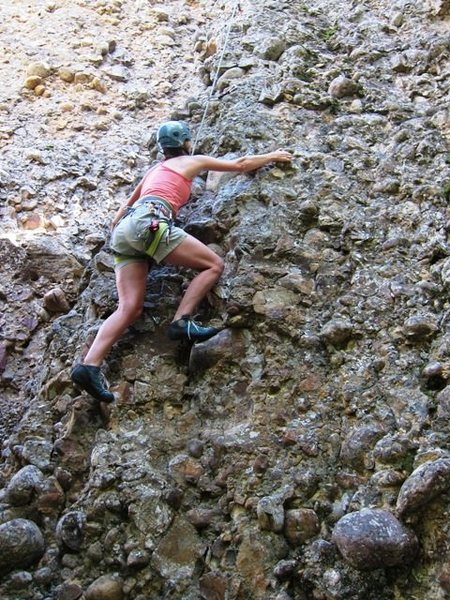 Rock Climbing Photo: Two Times Arete:  LeAnn catchin' a lap.