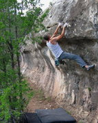 Rock Climbing Photo: Swinging through into the jugs.