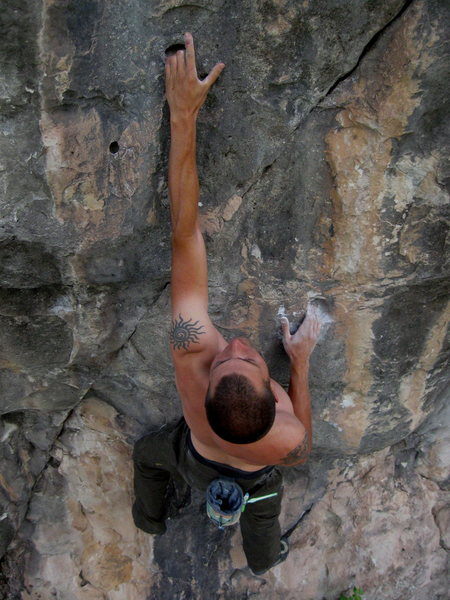 Rock Climbing Photo: Wade sinking them into the first pockets on the Ri...