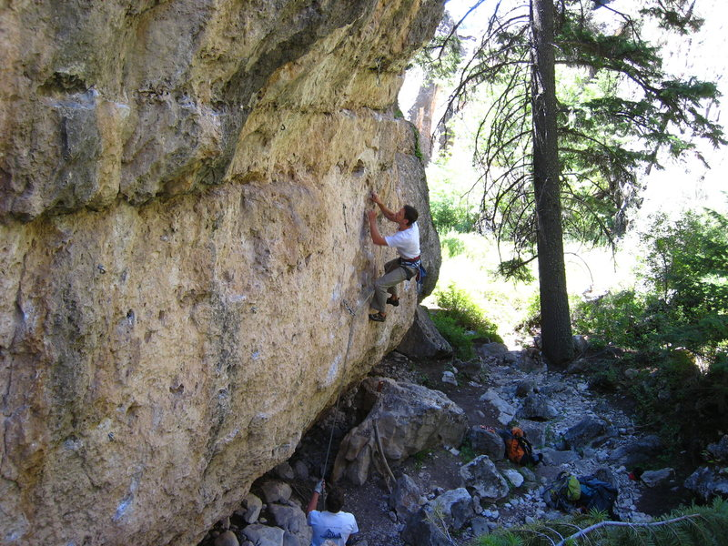 Lower 2/3 of The Barnum Route.  The crux is right off the deck and the second boulder problem is the bulge whose bottom half is at the top of this photo.