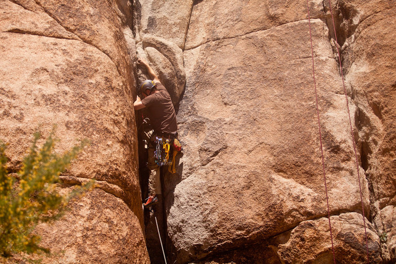 Rock Climbing Photo: crux of the climb, getting over this boulder about...