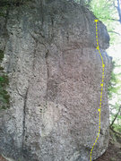 Rock Climbing Photo: Gruppenzwang follows the yellow line on the right ...
