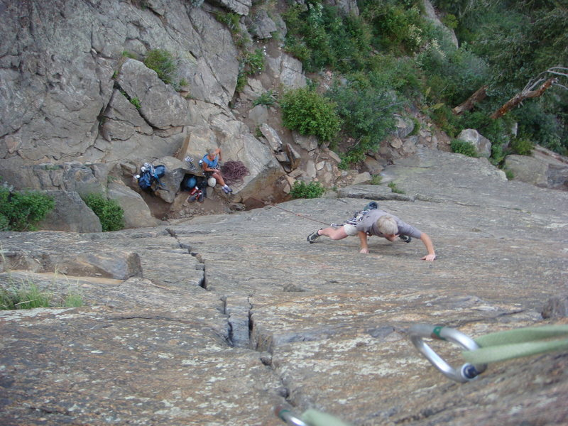 Rock Climbing Photo: Unknown man works it thin.