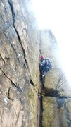 Rock Climbing Photo: Leading Wiesner Crack in March, Yes thats a down j...