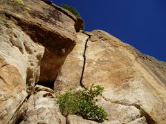 Rock Climbing Photo: The splitter at the top of Byrd's Classic.