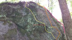 Rock Climbing Photo: Turtle Head is the middle route in the photo. The ...