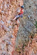 Rock Climbing Photo: Allison pulling through the crux section of Nine L...