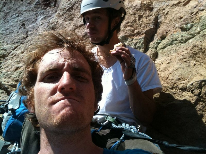 Rock Climbing Photo: Karl and me hanging out under the bolt ladder.