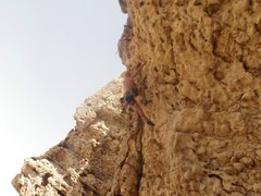 Rock Climbing Photo: Leading Justice League 6b+ at Hatta Crag.
