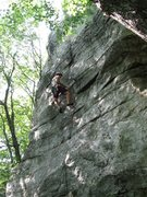 Rock Climbing Photo: This is NOT a recommendation to lead this route!  ...