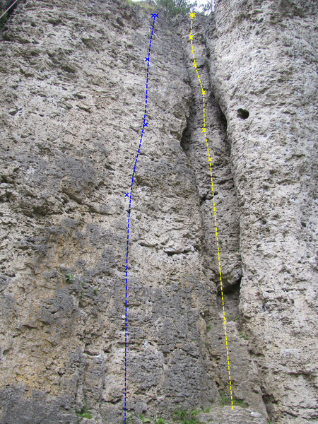 Rock Climbing Photo: Zwischenfall is shown in yellow here with a bonus ...