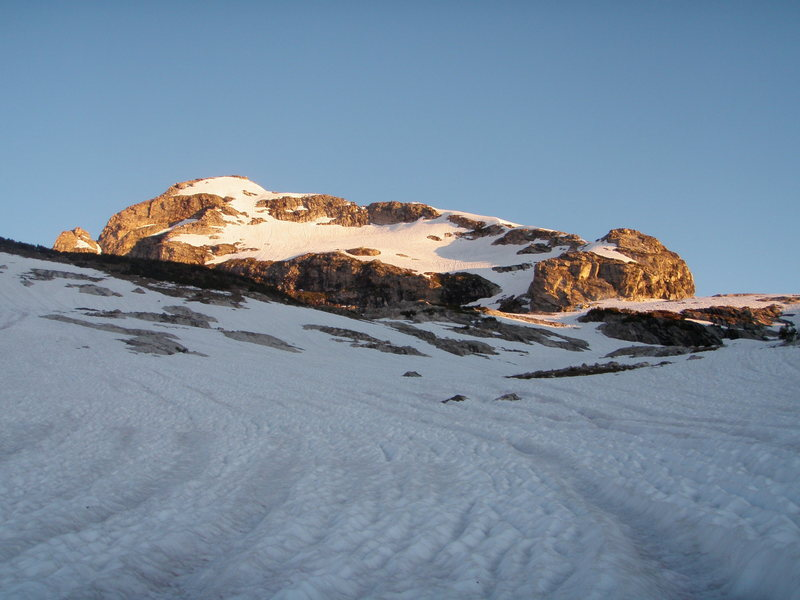 View of the E Face & E Ridge of Buck from a cirque below Timberline Lake on 7/24/11. MASSIVE snow year (atypical conditions).