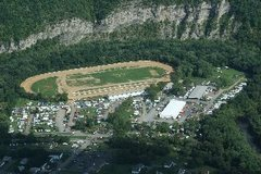 Rock Climbing Photo: Cumberland Fairgrounds with rock wall in the backg...