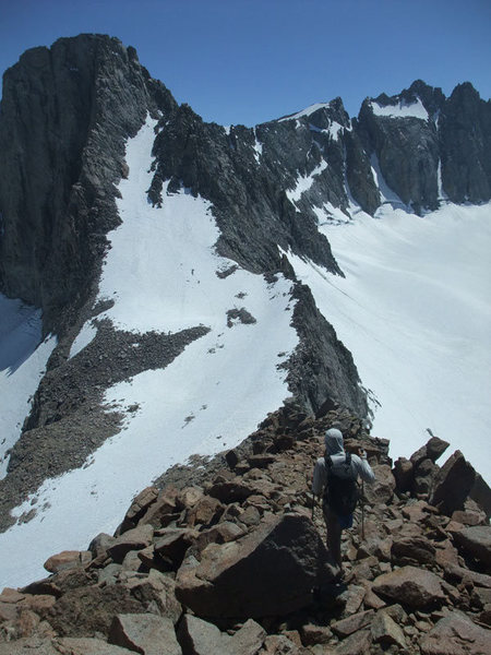 heading down easy slopes to the L-shaped couloir on Sill