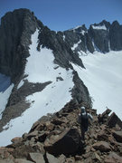 Rock Climbing Photo: heading down easy slopes to the L-shaped couloir o...