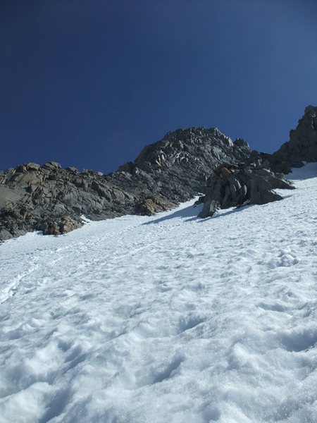 looking up the L-shaped couloir