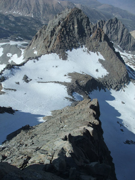 looking down the Swiss Arete