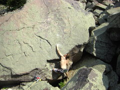 Rock Climbing Photo: Dobbe on the first move.