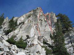 Rock Climbing Photo: Red Pine Crag/Pillar La Rioja Alta 5.10 Left most ...
