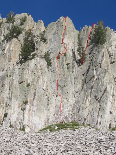 Vino Santo 5.9<br> Other descent line marked upper right to Pine tree.