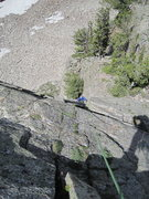 Rock Climbing Photo: Looking down pitch two.