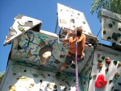 Rock Climbing Photo: Questionable stability of the upper board makes th...
