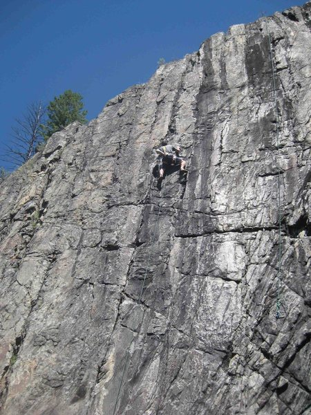Shunt self-belay on the left climb, A.J.'s (10a); nice laybacking and crimps. Thanks for the great anchors!