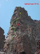 Rock Climbing Photo: Solid line is the version of the SE corner that we...