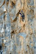 Rock Climbing Photo: Upper section of Hanging by a thread (5.12b/c)