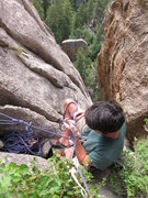 Rock Climbing Photo: Robby at the belay he settled on about 180 ft. up ...