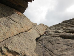 Rock Climbing Photo: Robby part way up the 3rd and final pitch of The G...