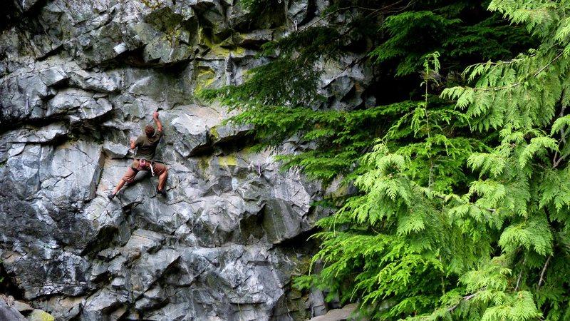 Sam climbing at Chek.