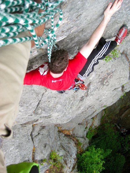 By brother on One Bowl Ceiling - his second outdoor climb ever - trying to pose for the coolest looking shot possible