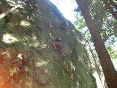 Rock Climbing Photo: Brad entering the second crux of Lubo.