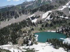 Rock Climbing Photo: Red Pine lake with crags up to the left.