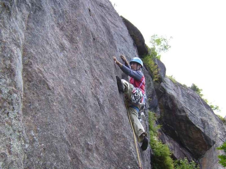 Rock Climbing Photo: Passing the crux on the FA.