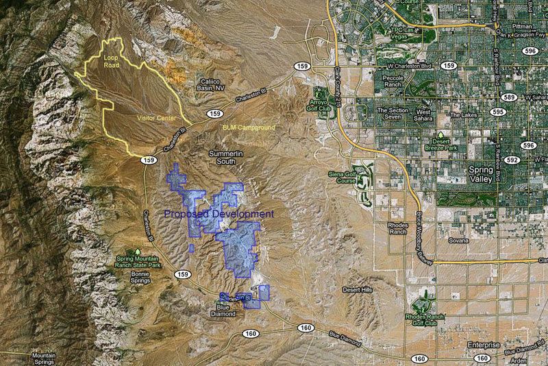 Map of proposed development on Blue Diamond Hill (please view full size for the full impact)