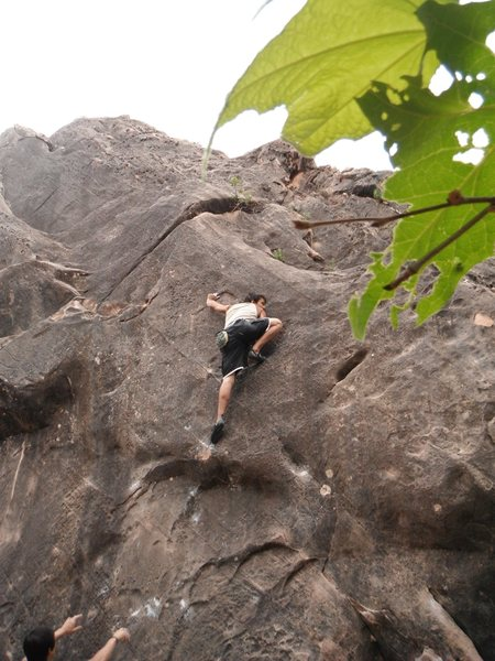 Pushin through second crux. Airy And Scary.